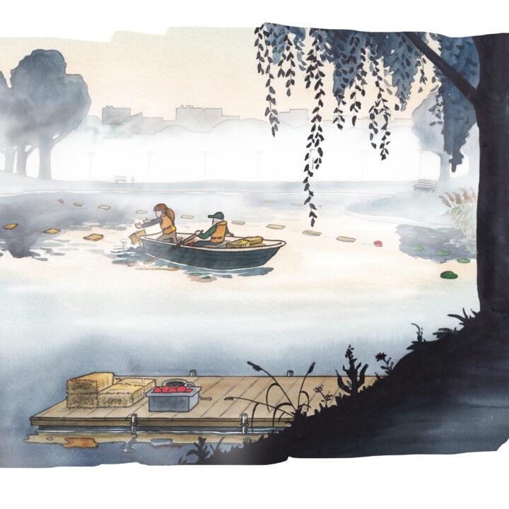 båt,människor,dimma,brygga