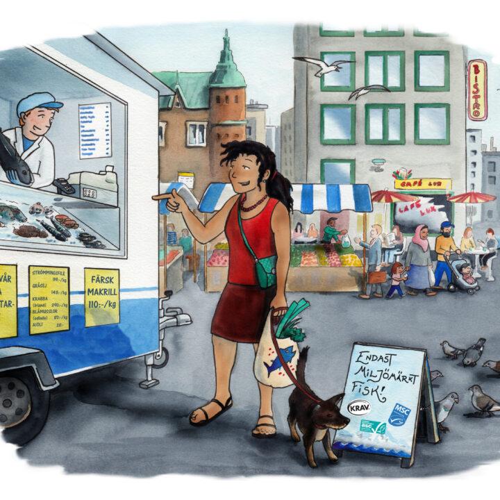 fisk,fiskbil,kvinna,hund, msc,miljömärkt