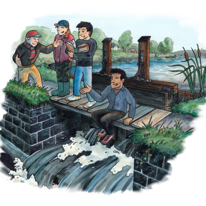 vatten,vattenväg,vattenverk,människor,damm