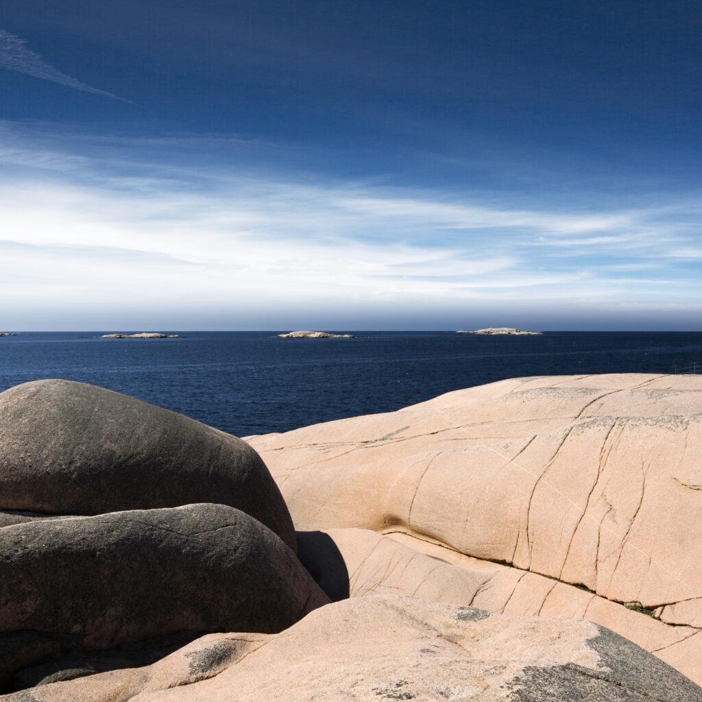Bohuslän, klippor, kust, granit, dag, horisont,vy, hus, Lysekil, panorama,vatten