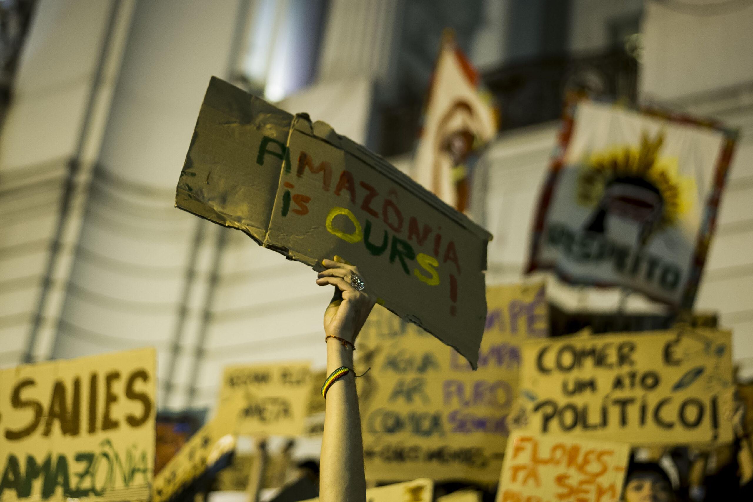 Rio de Janeiro. Demonstranter samlas för att protestera mot avskogningen av Amazonas, 3 augusti 2019.