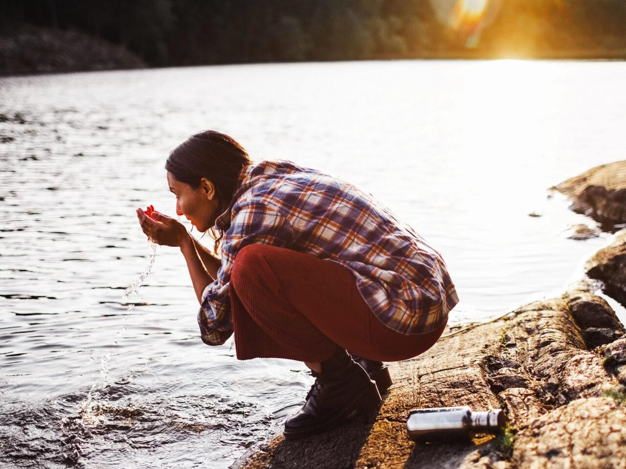 sjö, friluftsliv, solnedgång, utflykt, vatten, tvätta sig, rent vatten, hemester,