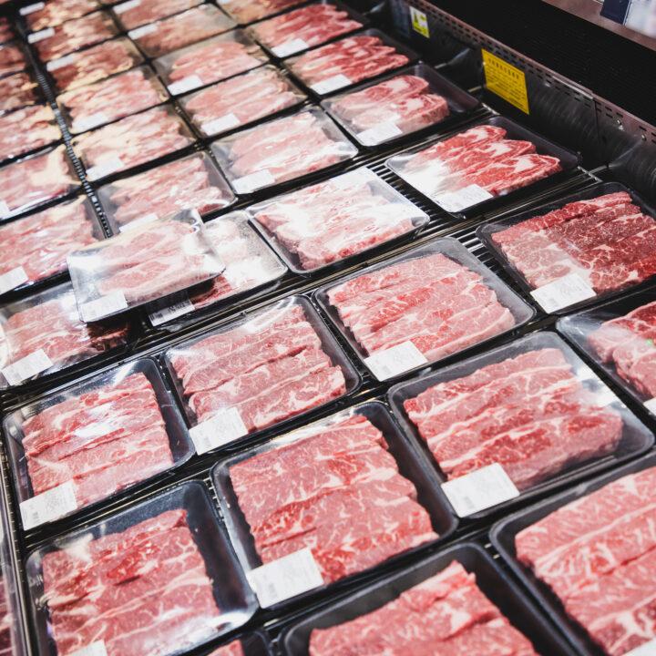 Kött, paket, frys, plast, lådor, röd, kor, varor, butik