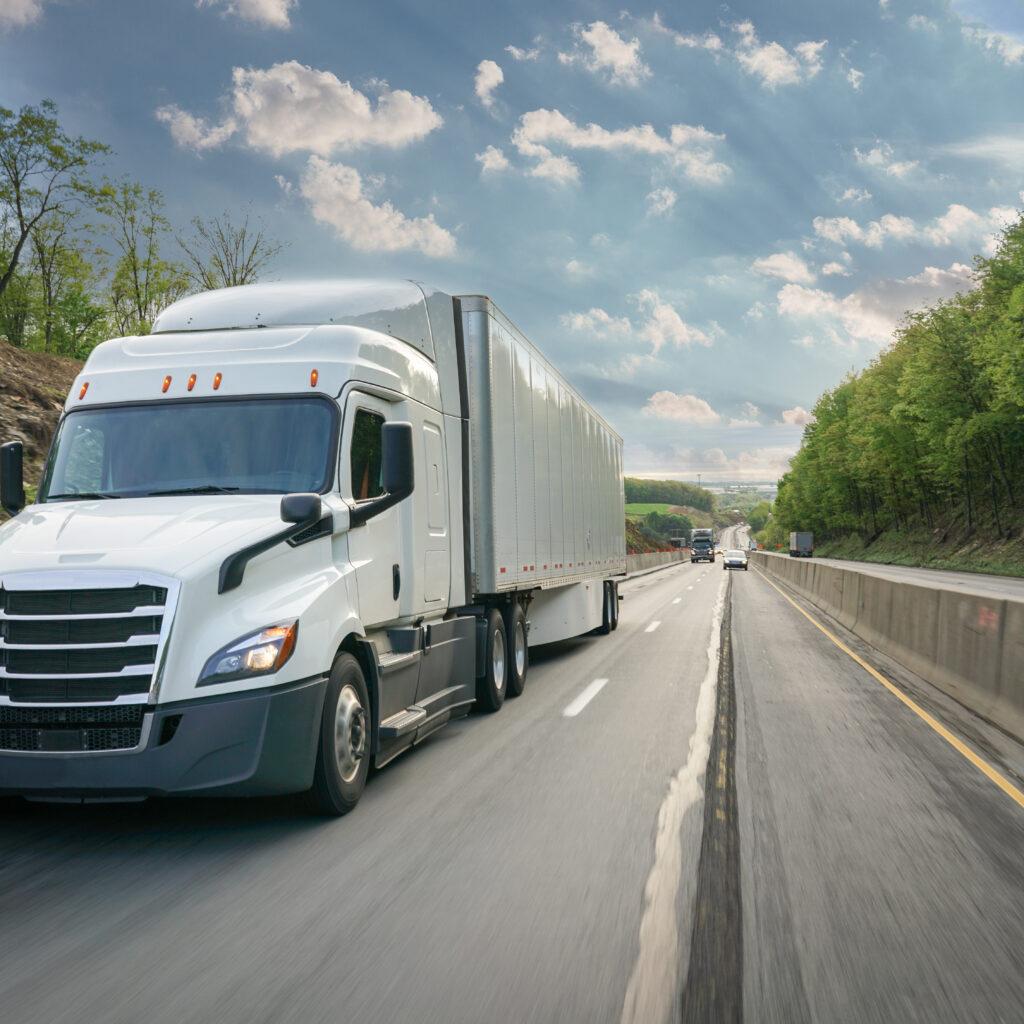 lastbil, motorväg, trafik, träd, grön, himle, moln, hastighet, växter, vit