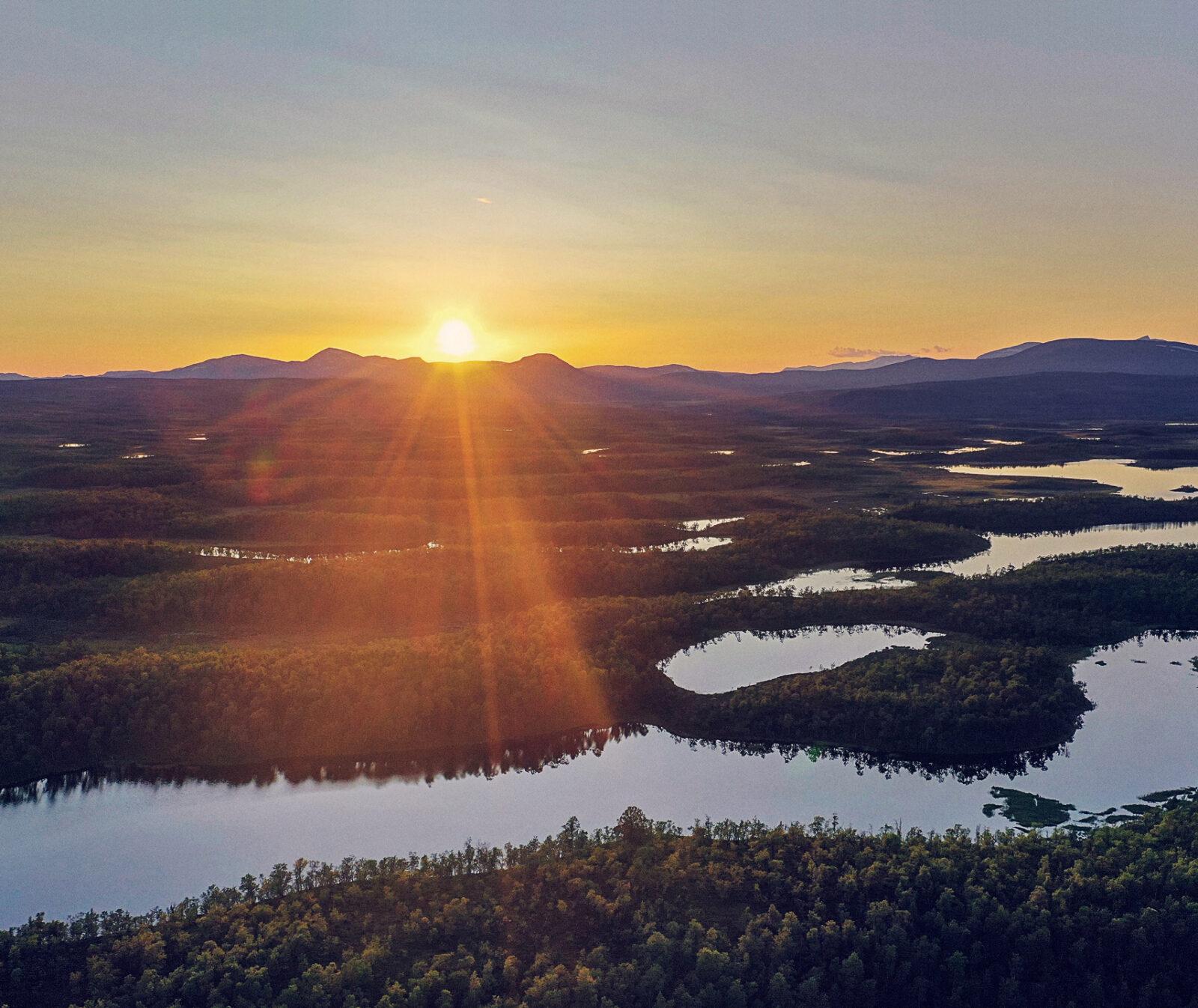 sjöar, funärsdalen, tobias sjö, solnedgång, sol, landskap, flygfoto,