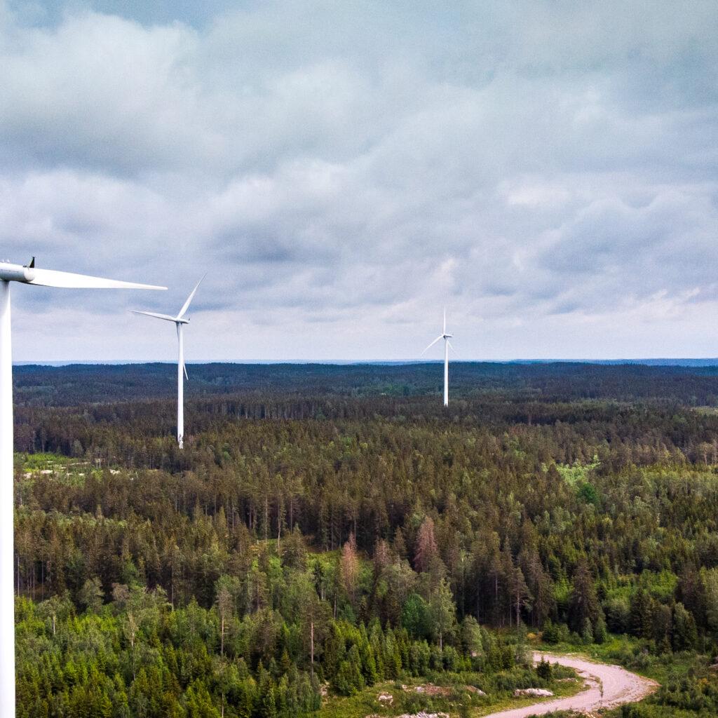 vindkraftverk, vindkraft, elenergi, energieffektiviseringsfond, el, vindkraftspark, himmel, propeller, propellerblad, vindenergi, energi, miljömärkt, miljömärkning, skog, träd, himmel, energiproduktion, moln