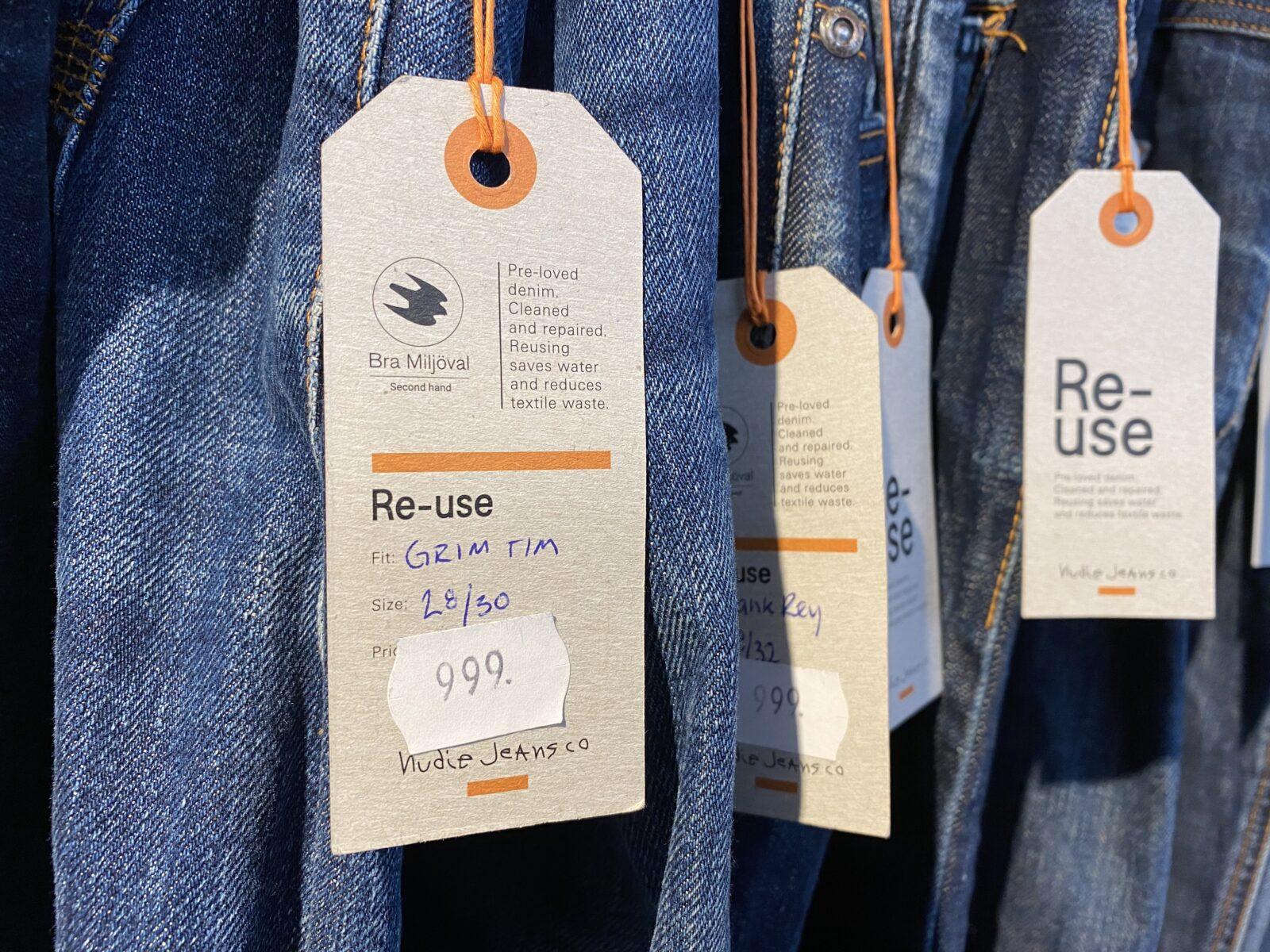 reuse, återanvändning, jeans, prislapp, miljömärkt, miljömärkning, återanvända, byxor, textil, kläder