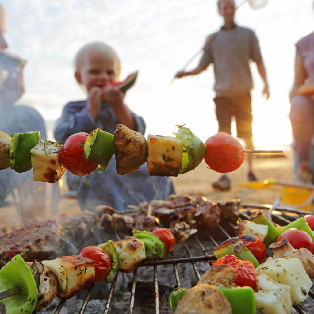 mat, grilla, familj, utomhus, mat, grönsaker, picknick