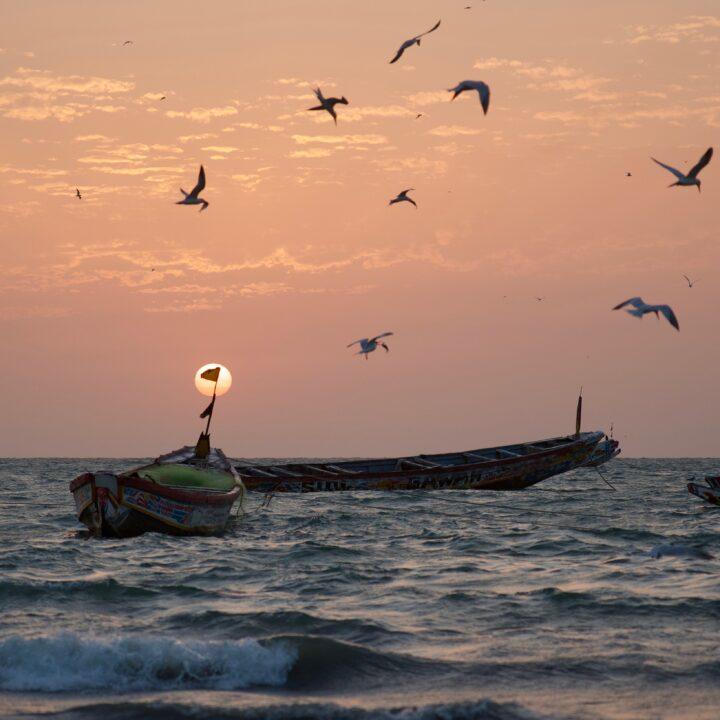 Waves, Hav, Gambia, Fiske, Småskaligt, Vatten, Solnedgång