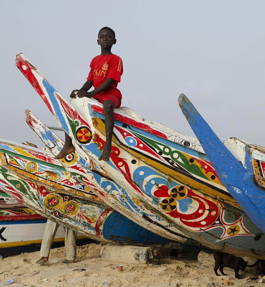 Senegal, Fiske, Småskaligt, Fiskare, Pojke, Strand, Båt, Rapport, Afrika, Västafrika