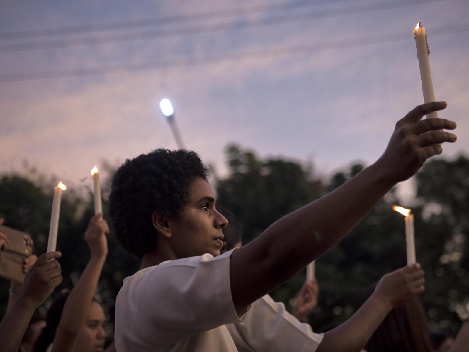 Manila, Filippinerna, Ljus, Kvinna, Duterte, Demonstration, Ljusmanifestation