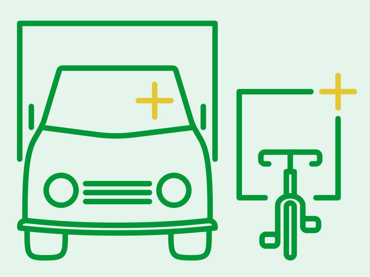 ikon, budtransporter, cykelbud, scooterbud, mopedbud, transporter, lastbil, skåpbil, miljömärkning, illustration, grön