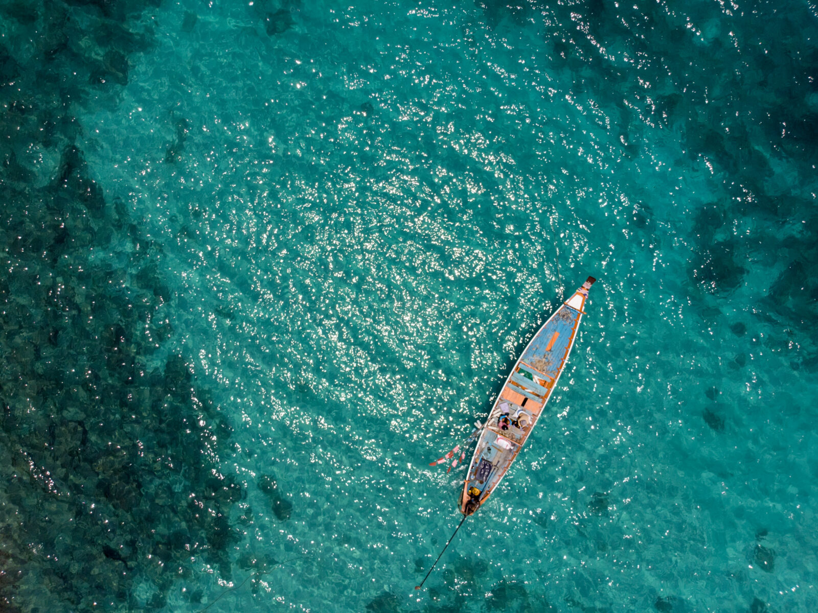 Thailand, Fiske, Småskaligt, Traditionellt, Tropiskt, Båt, Fiskare, Hav, Turkost