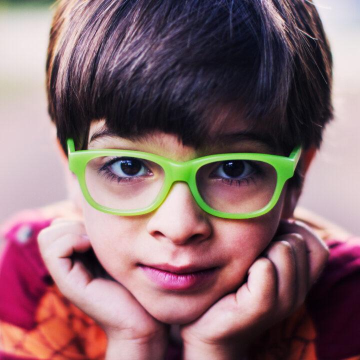 gröna, glasögon, skolövning
