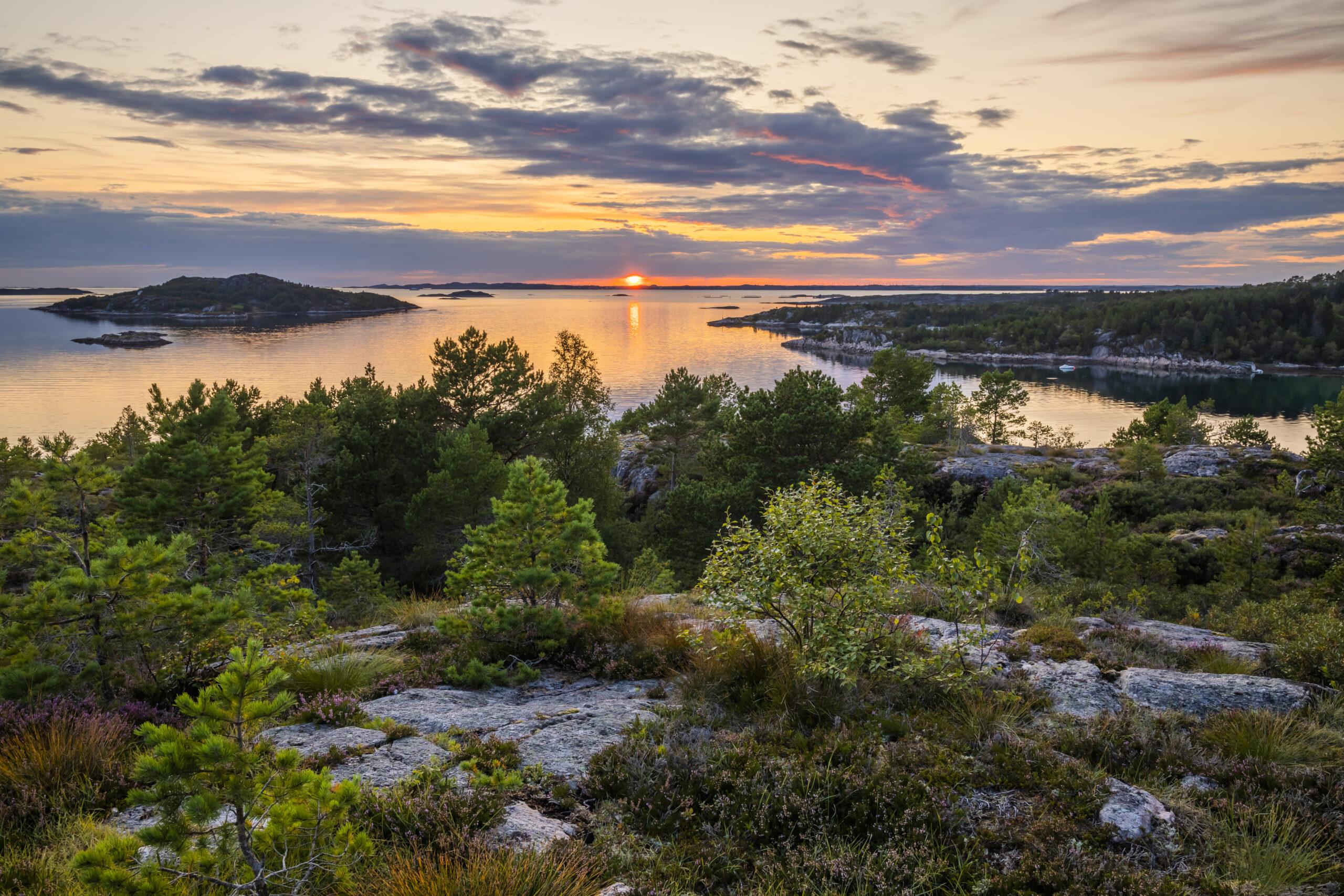 solnedgång,vatten,skärgård,vatten,klippor