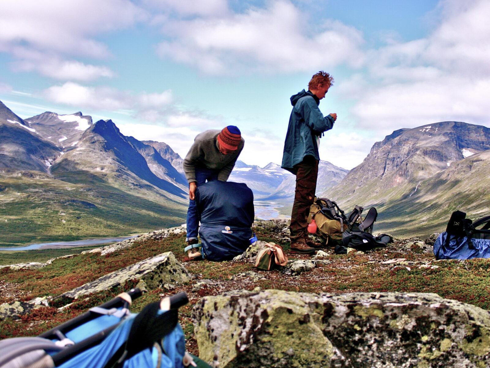 berg, natur, himmel, blå, moln, grön, flod, killar, ryggsäck, utsikt,