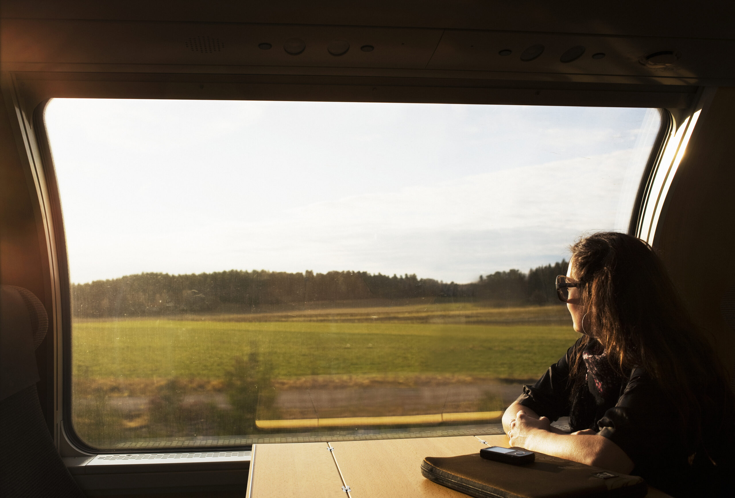 scandinavia, sweden, color image, commute, commuter, copy space, day, head and shoulders, horizontal, journey, landscape, leisure, lifestyle, look out, mid adult, one mid adult woman only, one person only, passenger, photography, relaxing, ride, side view, train, vehicle interior, window, tågfönster, tåg, tågresa, resa, kvinna på tåg,