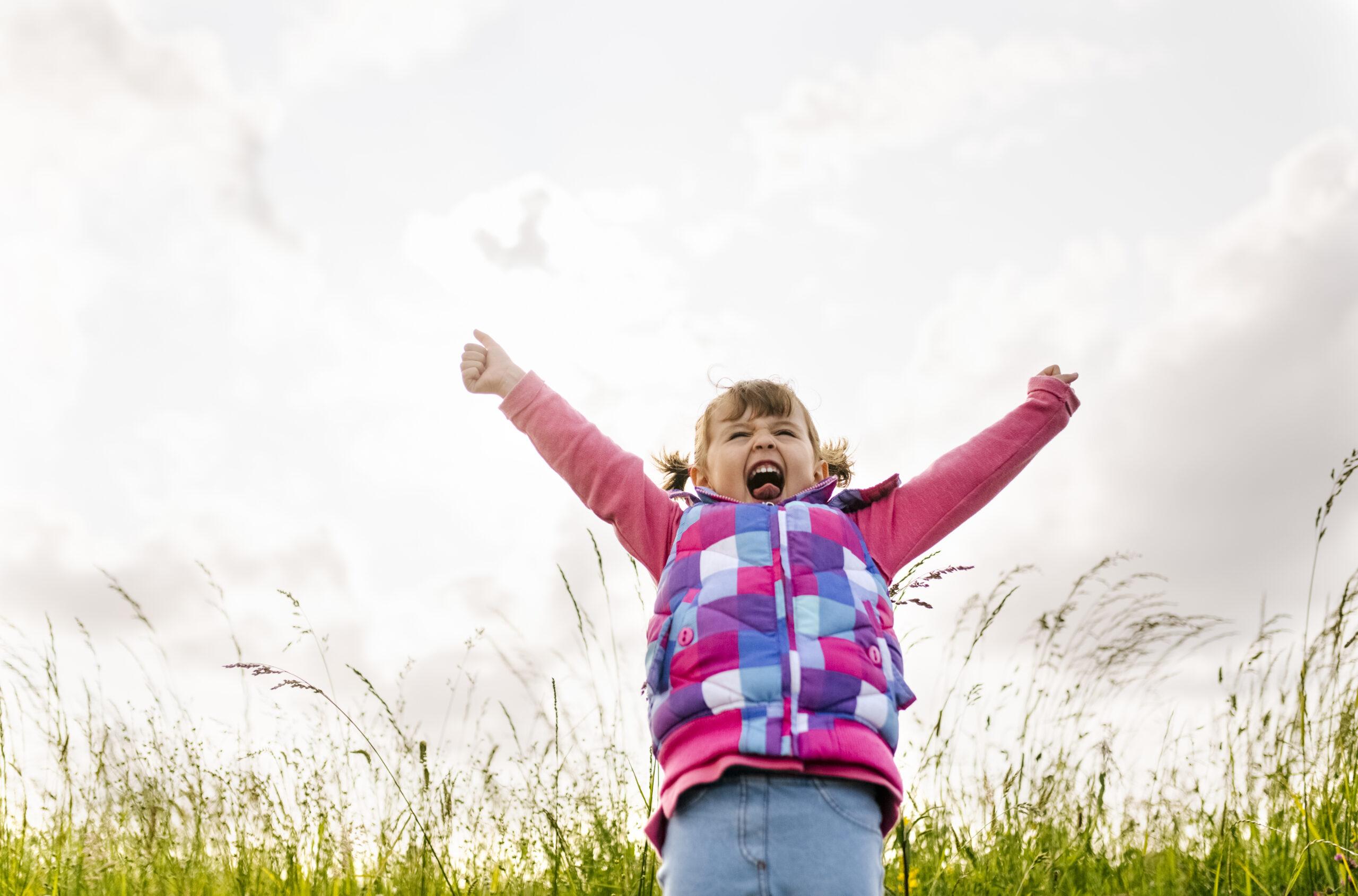 skrikande, flicka, människor, barn, lycka, stående, natur, vinnare, glädje, innehåll, landsbygd, frihet, näve, gräs, himmel, moln, utomhus, framifrån, porträtt, dag, söt, höja armarna , gråt av glädje, grumligt, avslappnad kläder, tre fjärdedelar, ensamhet, självförtroende, lugn, seger, kärlek till naturen, barndom, landsbygdsscen, högljudd.