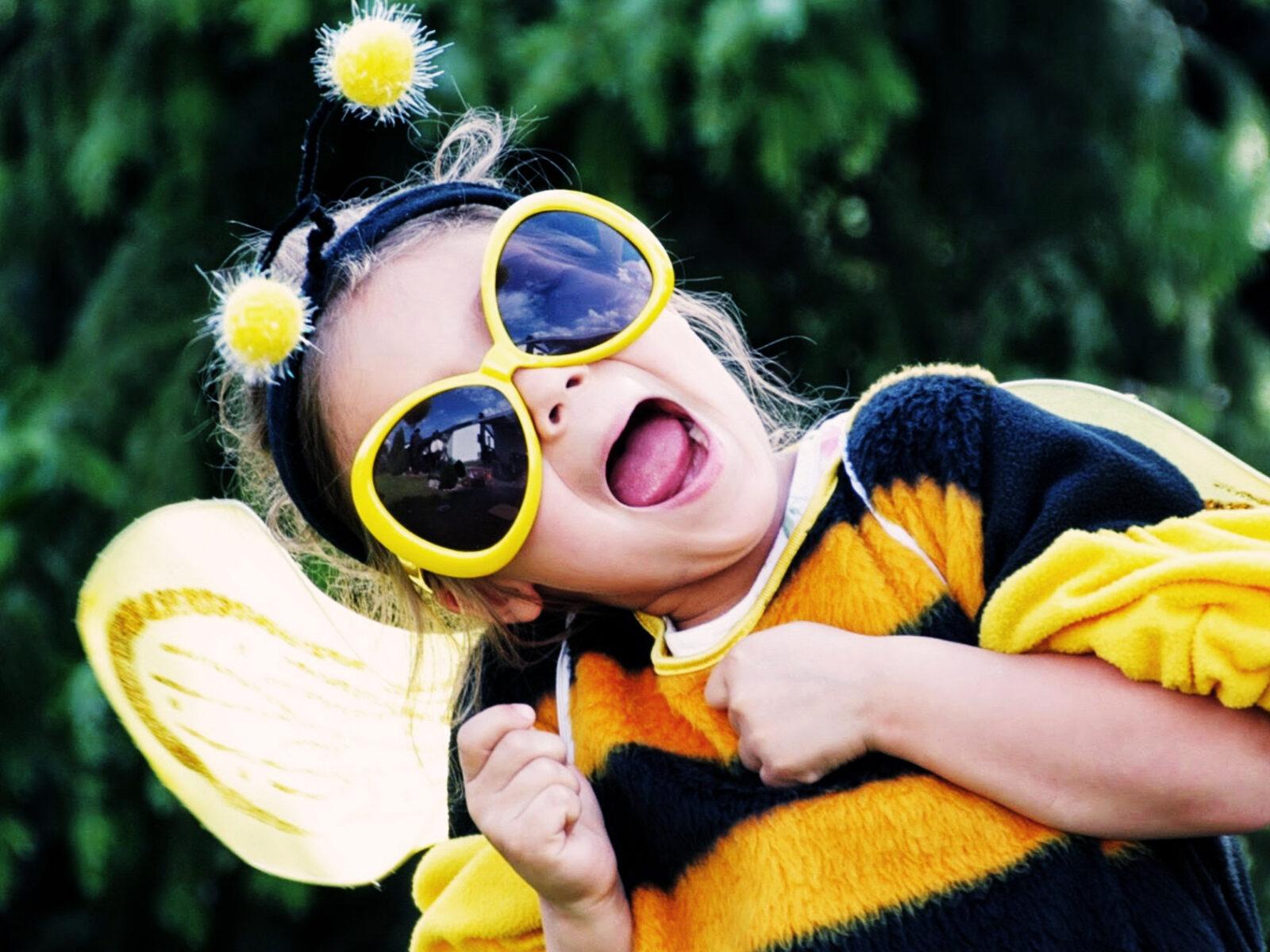 barn, bi, kostym, bi-leken