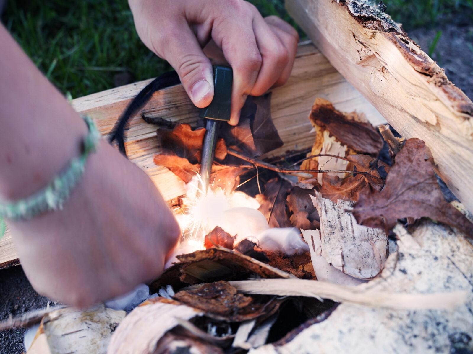 tändstål, eld, friluftsliv, skola, utomhus
