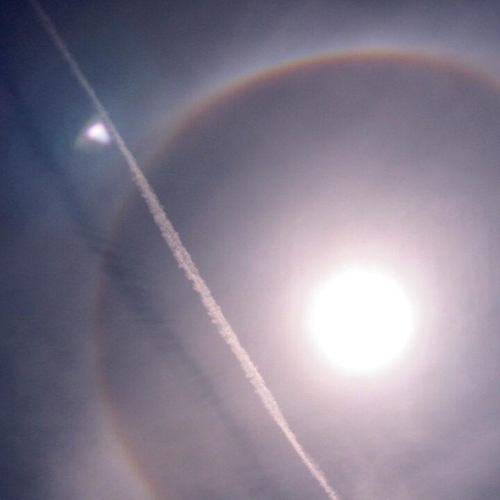 luft, klimat, sol, halo, ring, flyg, flygplan, ljus, kraft att förändra, josefine stenudd